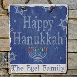 Happy Hanukkah Slate Plaque