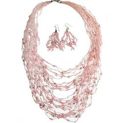 Rushing Pink Pearl and Rose Quartz Jewelry Set