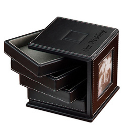 Leather Metropolitan Photo and Tray Desk Organizer
