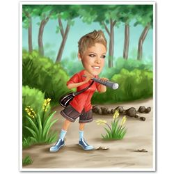 Female Explorer Personalized Caricature Print