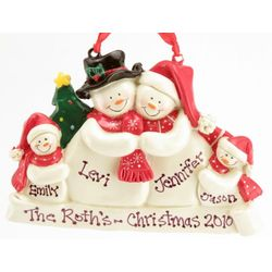 Engraved Snow Family Christmas Ornament