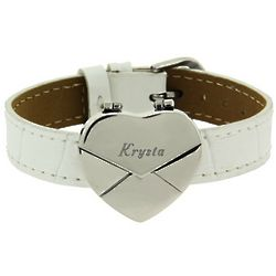 Secret Heart Message Envelope Bracelet White