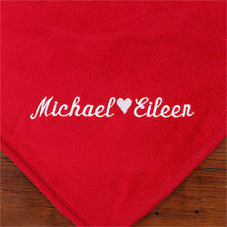 Red Personalized Fleece Blanket for Couples