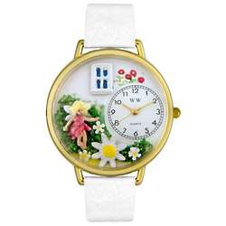 Daisy Fairy Personalized Watch with White Leather Band