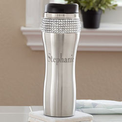 Personalized Stainless Steel Rhinestone Travel Mug