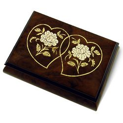 Harmonious 22 Note Double Heart & Roses Musical Jewelry Box