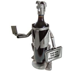 Handmade Recycled Metal Male Executive Wine Caddy
