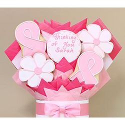 Pink Ribbon Thinking Of You 5 Piece Cookie Bouquet