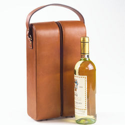 Personalized Leather Double Wine Bottle Holder