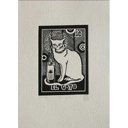 The Cat, Tequila Lotto Folk Art Painting