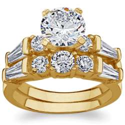 14K Gold Over Sterling Round Cubic Zirconia Wedding Ring Set