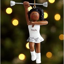 Female African American Personalized Baton Twirler Ornament