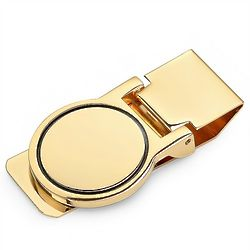 Personalized Gold Round Face Hinged Money Clip