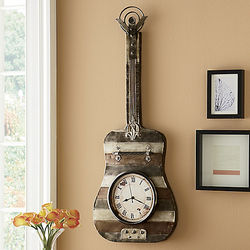 Metal Guitar Wall Clock Art