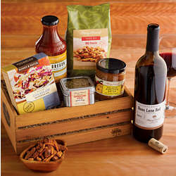 Gourmet BBQ Grilling Crate with Wine