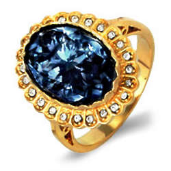Royal Regalia Princess Diana Sapphire Swarovski Crystal Ring