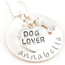 Personalized Dog Lover Hand-Stamped Necklace