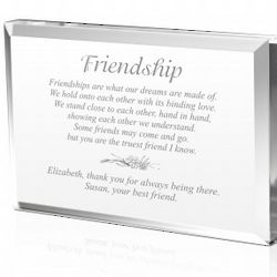 Friendship Plaque in Crystal Acrylic