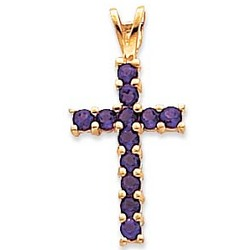 14kt Yellow Gold Amethyst Cross Pendant
