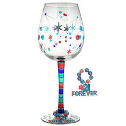 21 Forever Handpainted Wine Glass