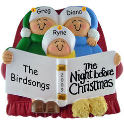 Personalized Night Before Christmas Ornament Family of Three