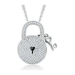 Sterling Silver Round Diamond Lock and Key Necklace
