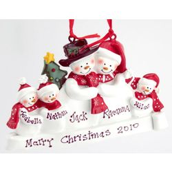 Personalized Snow Family of 5 Christmas Ornament