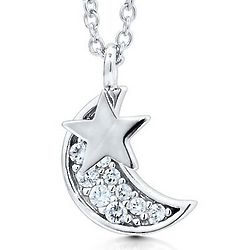 Sterling Silver Cubic Zirconia Crescent Moon and Star Necklace