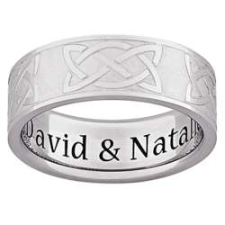 Men's Stainless Steel Satin Polished Celtic Knot Engraved Band