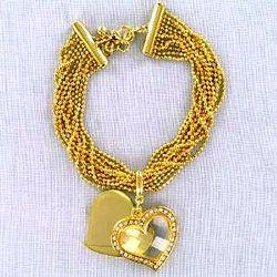 Goldtone Heart Charm Bracelet