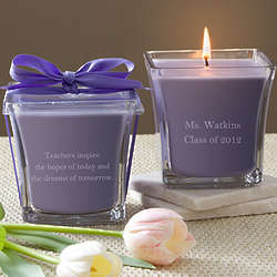Lavender and Linen Personalized Teacher's Candle