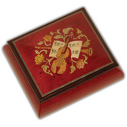 Square Small Music Box in Wine Red with Instrumental Inlay