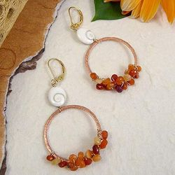 Fire and Water Copper Hoop Earrings