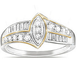 The Marquise Diamond Ring with Gold Accents