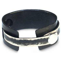 Men's Coal Trendsetter Leather Wristband Bracelet