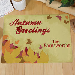 Autumn Greetings Personalized Cutting Board