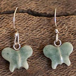Green Butterfly Jade Dangle Earrings
