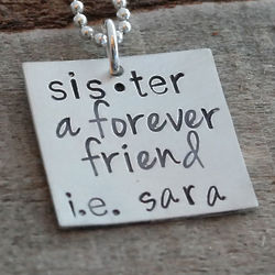 Personalized Definition of Sister Hand-Stamped Necklace