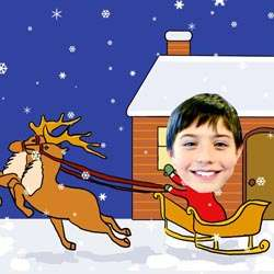 Your Photo in a Riding a Reindeer Caricature