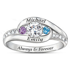 Together As One Personalized Topaz and Birthstone Ring