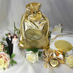 Bridal Goldtone Love Coin in Gold Metallic Jewelry Pouches