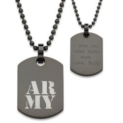 Black Stainless Steel Engraved Army Tag Pendant