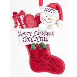 Personalized Snow Baby in Stocking Ornament