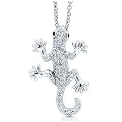 Sterling Silver Cubic Zirconia Gecko Necklace