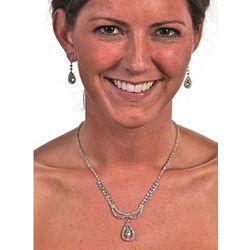 Rhinestone Teardrop Necklace & Earring Set