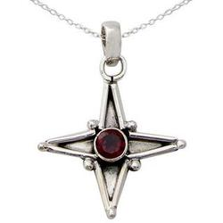 Garnet Star of Love Pendant Necklace