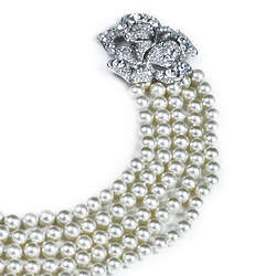 Pave Flower Clasp 5 Strand Pearl Necklace