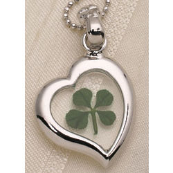 Four Leaf Clover Heart Necklace