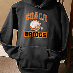 Personalized Sports Coach Black Hooded Sweatshirt