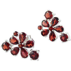 Scarlet Petals Garnet Flower Earrings